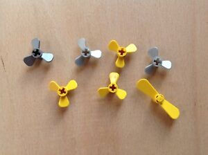Lego 3 x small propellor 3 blade Part 2421 pack of 3 BLACK  4 diameter
