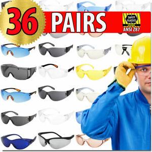 Protective-Glasses-Safety-Glasses-36-PAIRS-ANZI-Z87-Protection-Eyewear-Lot-Bulk