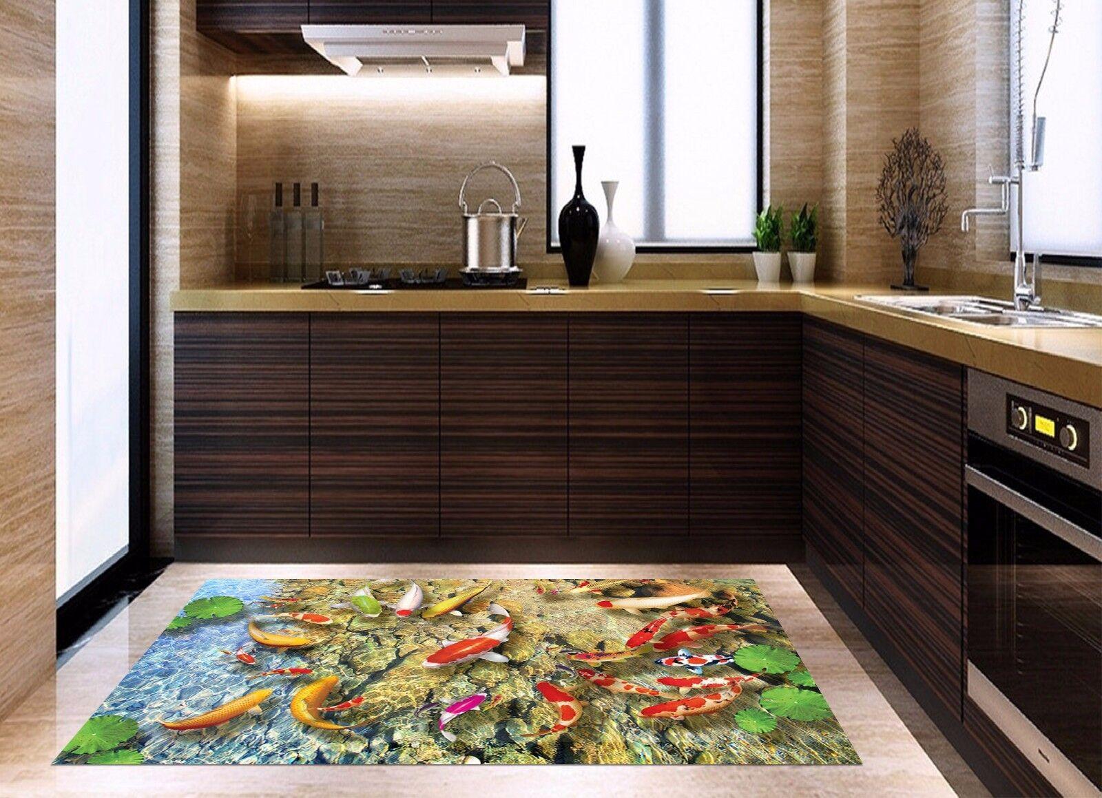 Stampe Da Cucina : 3d pesce dacqua laghetto fiume 9 tappetino muro da cucina pavimento