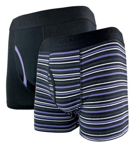 Farah 2 Pairs Mens Striped Cotton Rich Underwear Keyhole Boxer Trunks