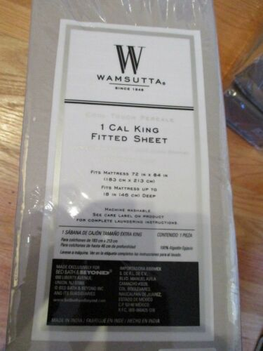 Wamsutta Cool Touch CAL KING FITTED SHEET Percale 350ct 100/% Egyptian Cotton NEW