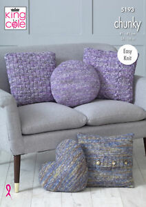 Image Is Loading Easy Knit Home Decor Chunky Knitting Pattern Cushion