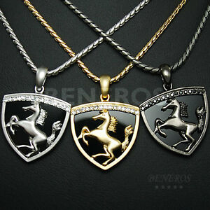 Horse Shield Onyx Pendant Chain Necklace Mens Crystal Biker Car