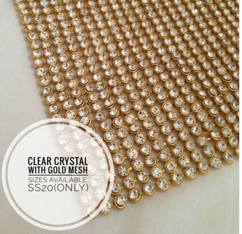 Hierro en Chaton Diamante Plata Oro AB /& Arco Iris Cristal Tiras Vestido De Costura UK