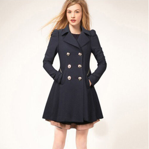 Womens Overcoat Fashion Trench Coat Ladies Winter Collar Parka Long Jackets Size
