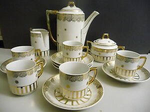 altes kaffeeservice wei gold jugendstil 14teilig ebay. Black Bedroom Furniture Sets. Home Design Ideas