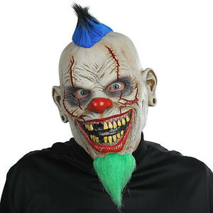 Details about Halloween Bad News Clown Mask Evil Scary Latex Face Cosplay  Fancy Dress NEW