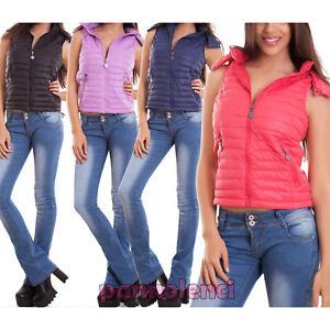 promo code 76617 87f63 Dettagli su Piumino smanicato donna gilet giubbotto giacchetto cappuccio  corto nuovo H-733