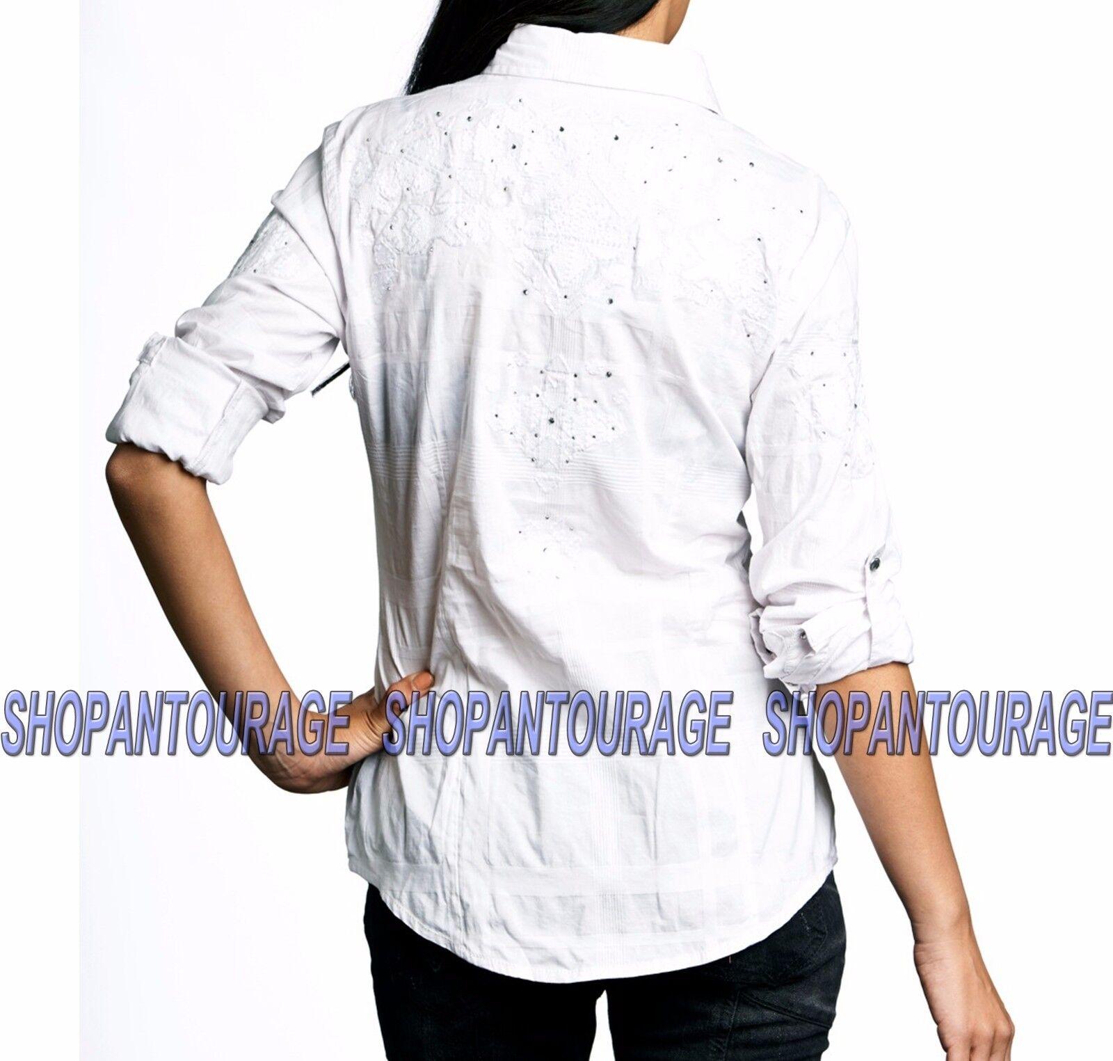 Affliction Radiant 111WV102 damen`s New Weiß Long Sleeve Button-Down Shirt