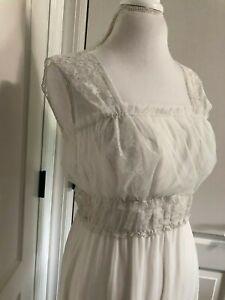 vintage white sheer nylon lingerie dress ruched bodice