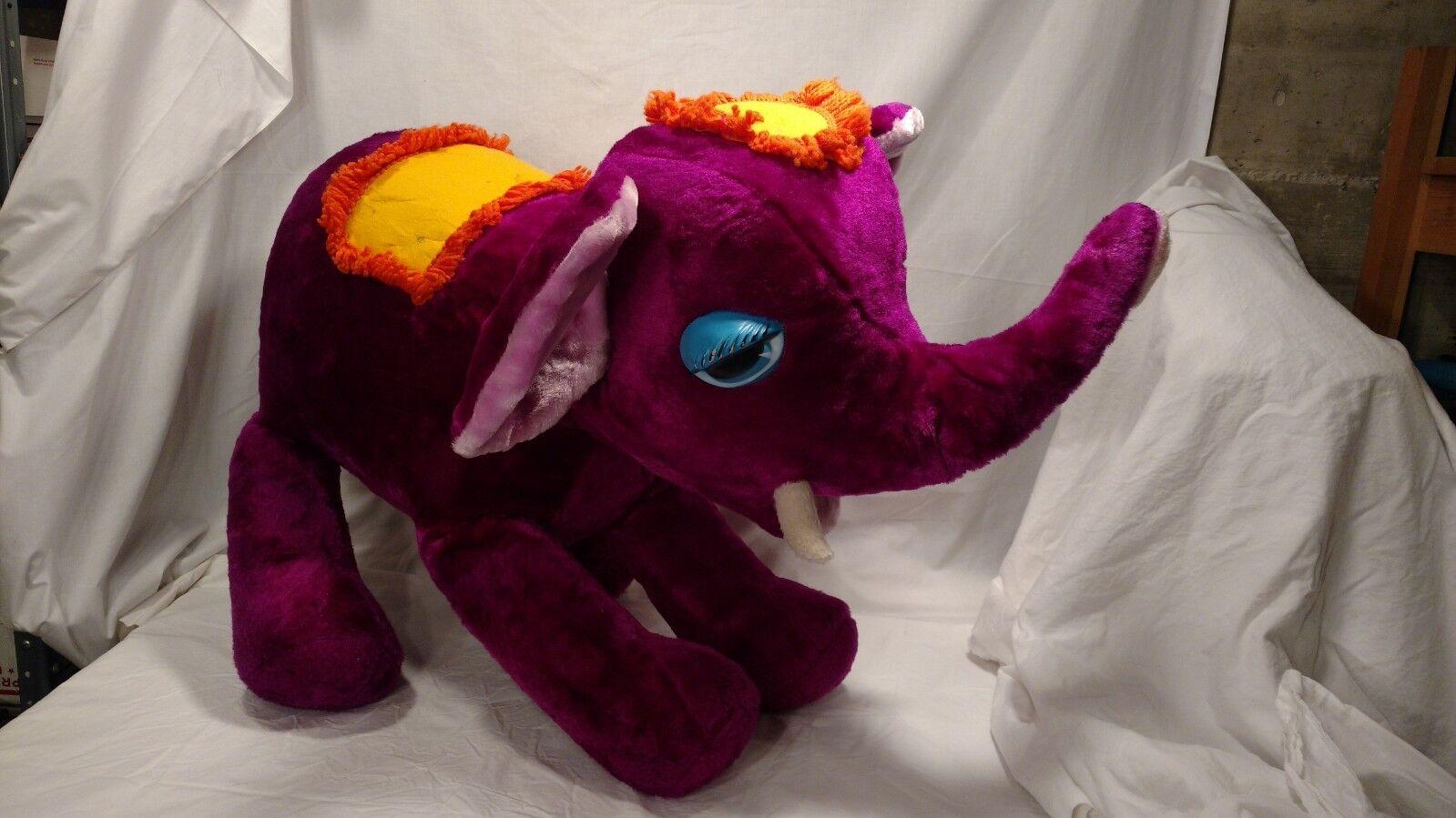 Vintage Purple Circus Elephant, Smile Novelty Toys Co., 2 Feet Tall, Stuffed