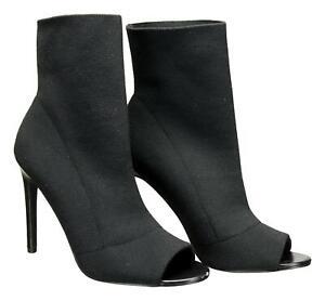 Steve-Madden-Women-039-s-Cappy-Stetch-Open-Toe-Bootie-Ankle-Boots-Black-10