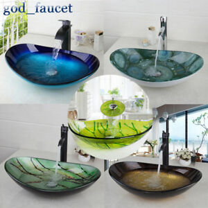 US-Tempered-Glass-Oval-Basin-Bowl-Vessel-Sink-Mixer-Waterfall-Faucet-Drain-Set