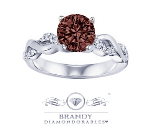 Brandy Diamondorables Chocolate Brown White Gold Silver Infinity Solitaire Ring