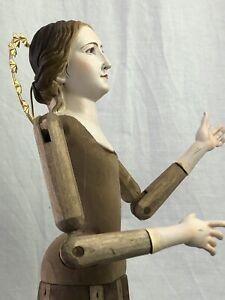 Madonna-Manichino-Gabbia-Stile-039-600-Vintage-Wood-Statua-Santa-43-Cm-occhi-vetro