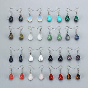 1-Pair-Water-Drop-Natural-Stone-Pendant-Dangle-Earring-for-Women-Jewelry-13x22mm