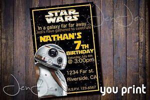 Star Wars BB8 You Print Party Invitation