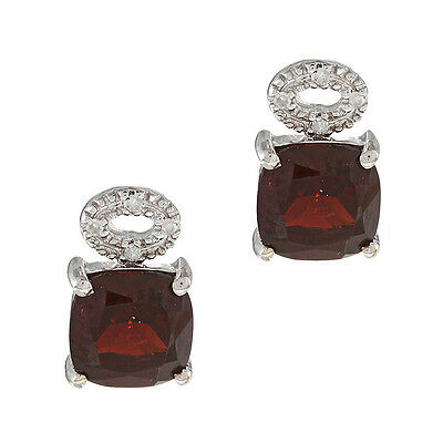10k White Gold Cushion Garnet and Pave Diamond Earrings (1/10 TDW)