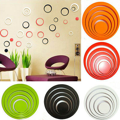 3D Circles Ring Wall Stickers Indoor Home Decoration Removable New