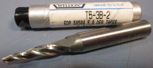 """3//8/""""SHK 3FL 1/""""LOC 3//32/""""DIA HSS USA Weldon 5° Tapered End Mill:T5-3B-2"""