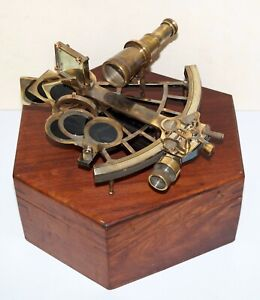 Collectible Antique Nautical Brass Astrolabe German Marine Sextant w// Wooden Box