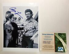 Star Wars George Lucas & Carrie Fisher Hand Signed Slave Leia And Director Photo