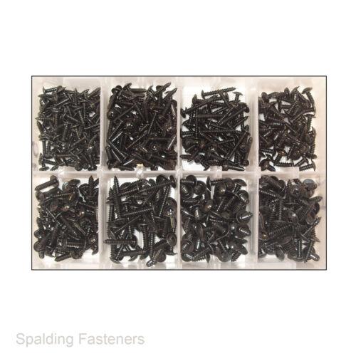 8 y n ° 10 métricas Zinc Negro POZI brida SELF TAPPING Tornillos 6 No Surtidos No