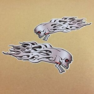 SKULL STICKER DECAL WITH METAL FLAMES For Car Motorcycle Van Truck 140mm  1 Pair