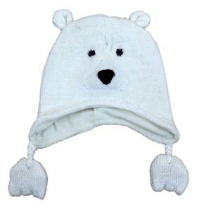 CP Infant Boys   Girls White Knit Polar Bear Peruvian Trapper Hat 6 ... d6326657371