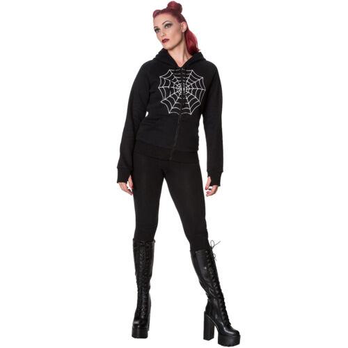 Banned Alternative Gothic Goth Punk Kapuzenjacke Keep It Calm Spiderweb Hoodie