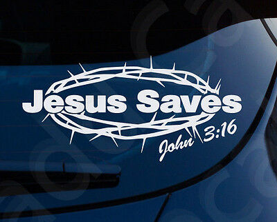 Jesus Saves John 3:16 Christian Decal Car Laptop Graphic Sticker Window