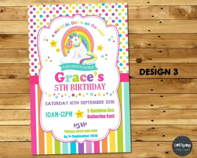 UNICORN INVITATIONS 1ST FIRST BIRTHDAY PARTY INVITE PERSONALISED RAINBOW ANY AGE