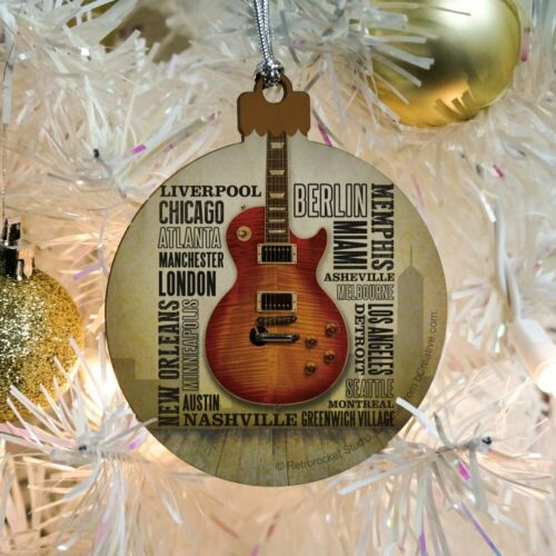 Guitar Music World Cities Wood Christmas Tree Holiday Ornament