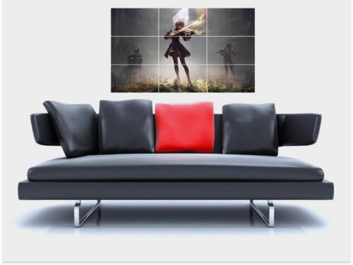 """NIER AUTOMATA BORDERLESS MOSAIC TILE WALL POSTER 35/"""" x 23/"""" ROLE COSPLAY GAMER N2"""