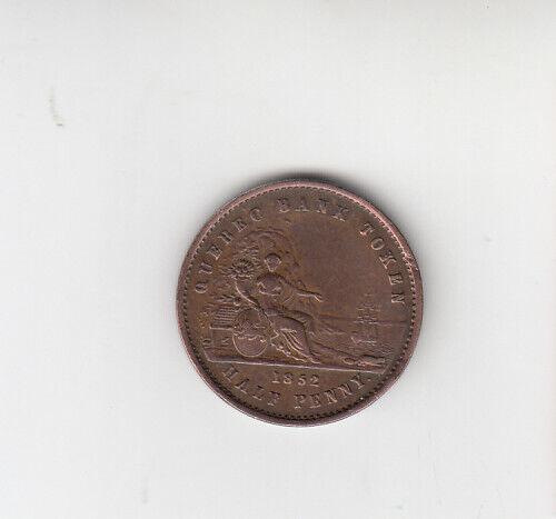 1852 CANADA QUEBEC BANK TOKEN 1 SOUS HALF PENNY COPPER COIN