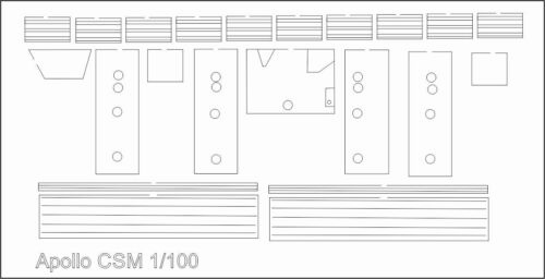 Flying Saturn V Apollo CSM Laser Cut Detail Sheet for 1//100 Estes Saturn
