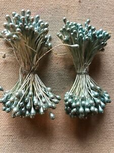 Vintage-Millinery-Flower-Soft-Blue-Pearl-Stamen-2-bunch-Lot-Unused-Stock-HzR