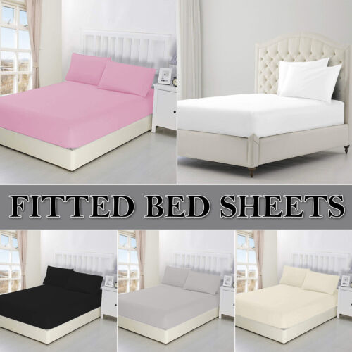 Extra Deep Fitted Sheet Bed Sheets Single Double King Size 40cm 100/% Poly Cotton