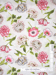 Floral-Pink-Flowers-on-Cream-Cotton-Fabric-Wilmington-Tivoli-Garden-By-The-Yard