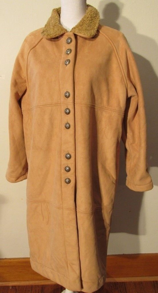V7680 Cheyenne Collection Beige Microfiber Button Up Long Coat Women's S