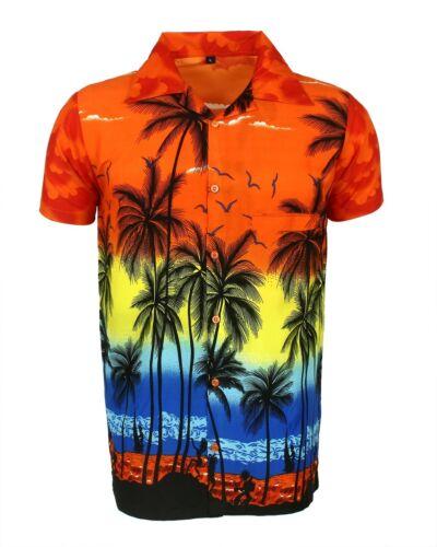 Herren Hawaii-Hemd Stag Strand Hawaii Aloha Sommer Urlaub Kostüm Orange Palm
