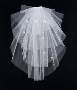 2-Tier-Pearl-and-Bow-Bridal-Wedding-Waist-Length-Veil-White-Ivory