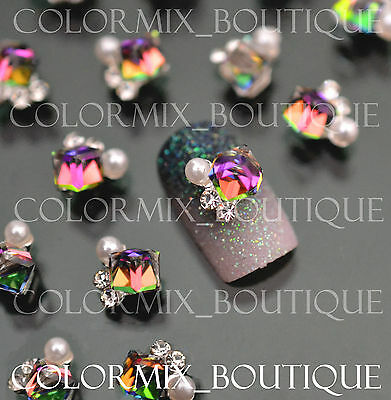 10pcs 3D Nail Art Decoration Multicolor Alloy Jewelry Glitter Rhinestone #CA016