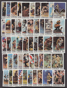Liberia-Sc-853a-857j-MNH-1979-Norman-Rockwell-Boy-Scouts-complete-set-of-50-VF