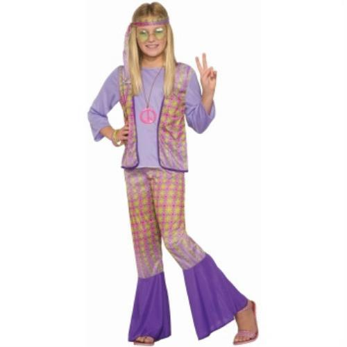 Generation Hippie Love Child Girls Halloween Costume 1970s Flower Power SM 4-6