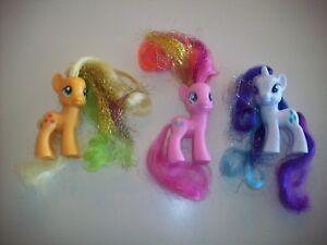 Hasbro My Little Pony Lot Of 3 Glitter Hair Pinkie Applejack Rarity Ebay