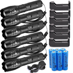 Lot-Tactical-50000LM-T6-High-Power-LED-Zoom-Flashlight-18650-amp-Charger-USA