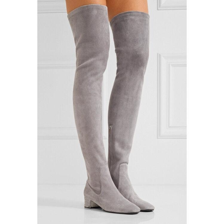 Popular Overkneestiefel Absatz Damen Schuhe Boots Niedrig Absatz Overkneestiefel College Sexy NEU 34-43 631174