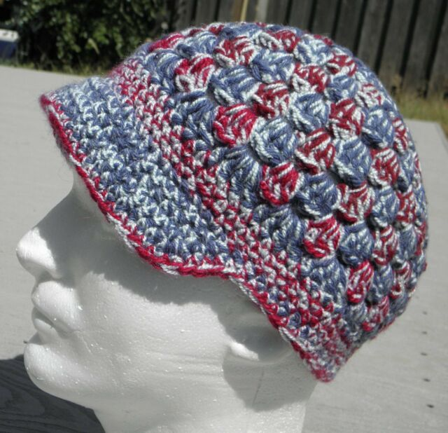 Cool Dark Red/Blue/White Crocheted Hat with a Visor - Handmade by Michaela