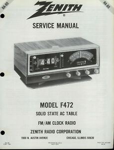 zenith f 472 fm am radio digital clock rare original factory service rh ebay com zenith clock radio z1233ba manual zenith clock radio z1233ba manual